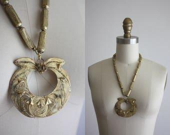 1970s bohemian brass necklace