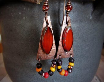 Textured Copper Triangle and Beaded Earrings - Artisan Jewelry - Hammered Copper - Rustic Jewelry