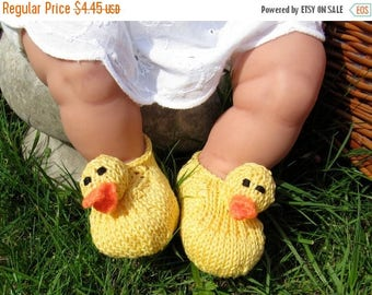 50% OFF SALE Instant Digital File pdf download Knitting Pattern - madmonkeyknits Baby Rubber Duck Shoes pdf download knitting pattern
