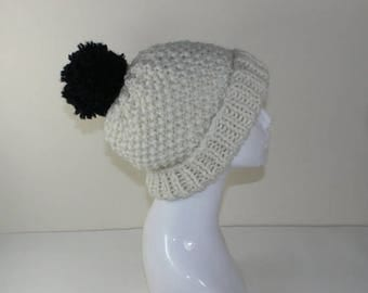 50% OFF SALE Instant Digital File pdf download - Extra Roomy Super Chunky Moss Stitch Bobble Beanie Hat knitting pattern