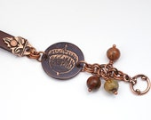 "Etched copper acorn and leather bracelet 7 3/4"" long"