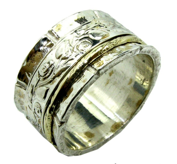 ringshippie floral spinner ring silver gold designer by