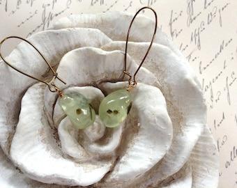 Dangles Sage Prehnite Nuggets And Brass Earrings