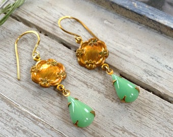 NEW! Vintage Style Green German Glass And Distressed Brass Earrings