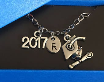 Graduation necklace, Graduate jewelry,Personalized, Graduate Necklace,Graduate cap charm, Diploma charm, 2017 Graduate gift, gift for her