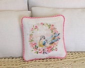 1:12 Pillow - Bird Floral Wreath - Dollhouse Scale Miniature - Shabby Cottage Spring Bird and Flowers   **Free Shipping**
