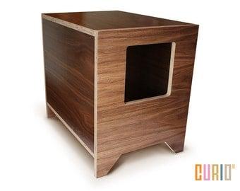curio in walnut modern cat litter box designer cat house cat furniture