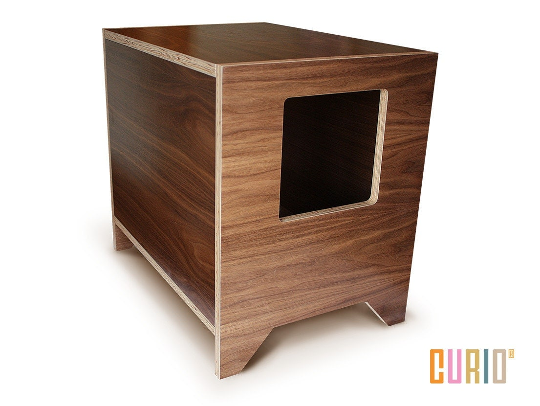 Curio In Walnut Modern Cat Litter Box Designer Cat House
