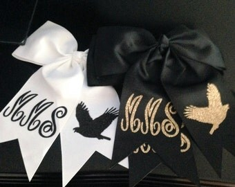 Monogrammed cheer bows go hawks