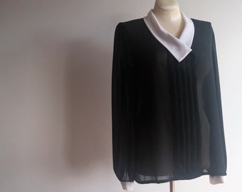 vintage black sheer button up blouse // size 20 tall // sheer black top // peter pan collar // black and white blouse // plus size