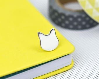 Silver Cat enamel pin - hard enamel pin badge - perfect cat lovers gift - crazy cat lady - kitty pin