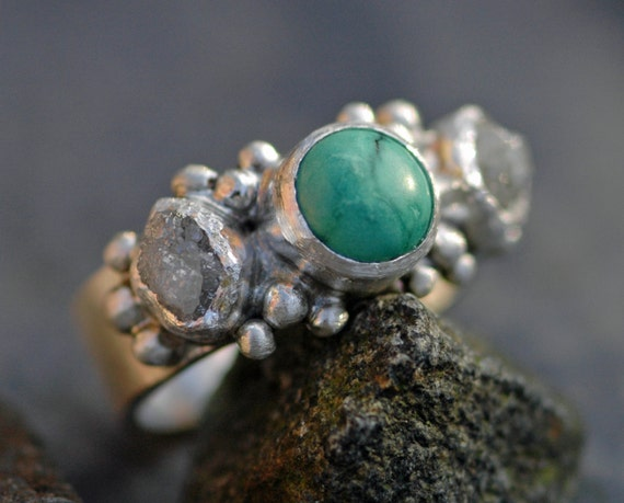 Rough Diamond and Turquoise  Ring- Custom Made Custom Colour