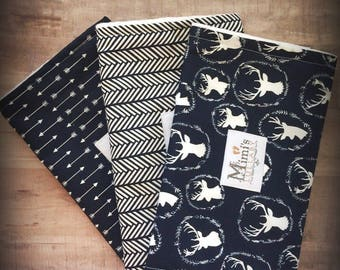 Navy blue & white rustic deer and arrow burp cloth set - pack of 3