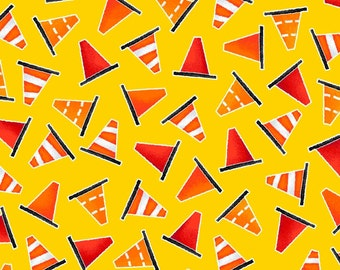 BE MY HERO by Henry Glass - Yellow Mini Safety Cones - #1022-44 - fire truck fabric - police - city town - quilt fabric