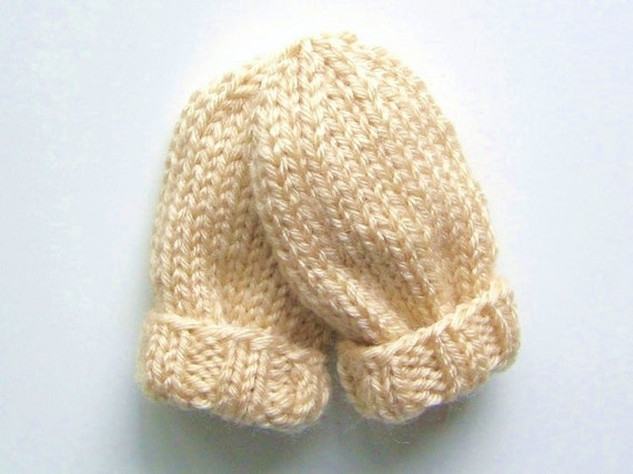 Warm Baby Mittens, Infant 3 to 12 Months, Ready To Ship, Hand Knit Winter Thumbless Mitts, Cream Beige, Baby Girl Gift, Baby Boy Clothing
