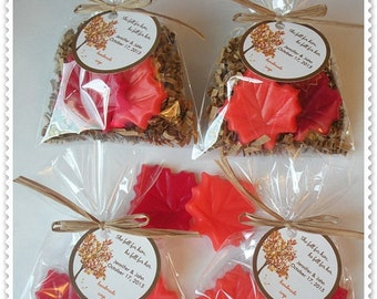 Autumn Leaves Baby Shower Favors Leaf Shower Favors Fall Wedding Favors Harvest Shower Soap   (20 complete favors with tags-40 soaps)