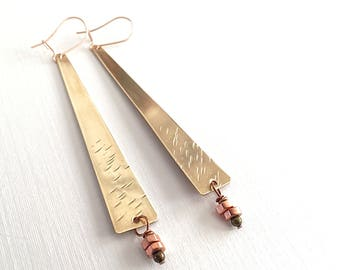 Brass Rectangle with Copper Earrings