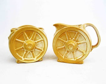 Vintage Frankoma Wagon Wheel Cream and Sugar Set in Desert Gold. Circa 1960's.