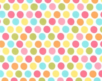 Michael Miller Fabric Diddly Dot in Yellow, Choose your cut