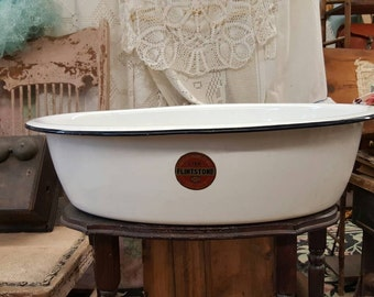 Large Vintage White Enamel Baby Washtub from Rustysecrets