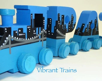 Custom THREE LETTER Name Train. Any Style or Design with Engine and Caboose, Hand Painted for you by Vibrant Trains