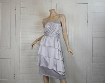 Silver Gray Disco Dress- 1970s / 70s Layered Satin Dress- Sleeveless- Medium- Ice Blue