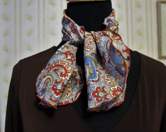 Vintage 1970s Oblong Neck Scarf, Rust-Gold-Blue Paisley