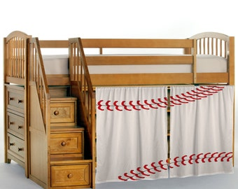 Stitched Baseball Loft Bed Curtains, Natural and Red Option Shown , Other Colors Available, Custom Sizes