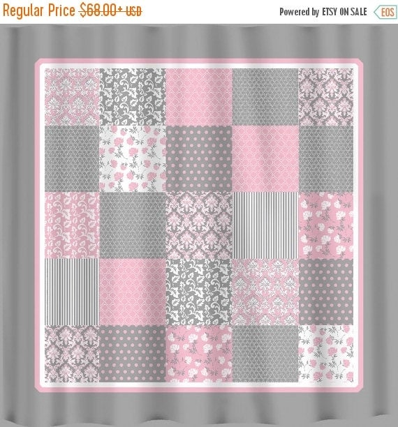 ON SALE French Country Patchwork Shower Curtain Pink By