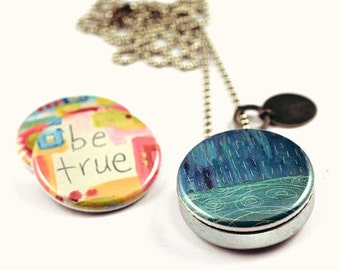 3-in-1 Art Locket, with interchangeable magnetic lids, custom stamped initial --- inspired words, wings and water