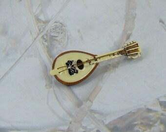 Vintage Bakelite Mandolin Brooch Sweet Design with Strings Brooch Vintage Pin Brooch