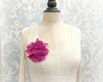 Hydrangea Brooch - Flower Brooch - Hydrangea Flowers - Pink Floral Brooch - Hydrangea Accessory - Cerise Fascinator - Handmade in the USA