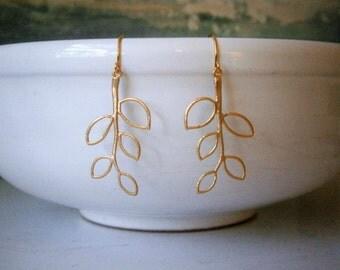 Gold Earrings, Modern Branch Earrings, Mom, Sister, Girlfriend, Wife, Best Friend