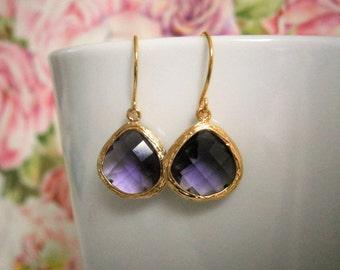 Amethyst Earrings, Purple Earrings, Gold Earrings, Best Friend Birthday, Bridesmaid Earrings