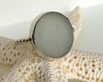 Pale Gray Sea Glass Ring - Genuine English Beach Glass & Sterling Silver - HARBOR FOG - Size 8