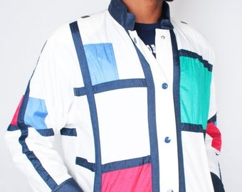 SALE Vintage 90s Red White Blue Abstract Geo MONDRIAN Style Windbreaker // Unisex Vintage Jacket (sz M)