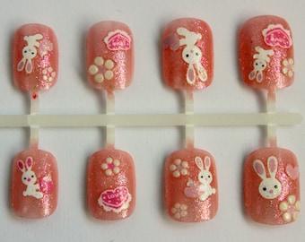Cute Press On Nails- Happy Easter Bunny Kawaii Fake Nails - Japanese Nail Art - Nail Art - Animal Nails- Easter Rabbit Nails for Spring