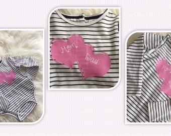 Baby Girl Printed Onesie, Mom & Dad, Pink Hearts - 24 Months