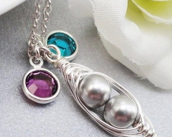 Christmas Sale Peas in a pod, Two peas in a pod, Petite peas in a pod birthstone necklace