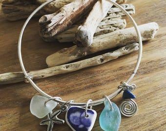 Genuine Irish Sea Glass and Sea Pottery Adjustable Bangle - Beach Girl Accessory