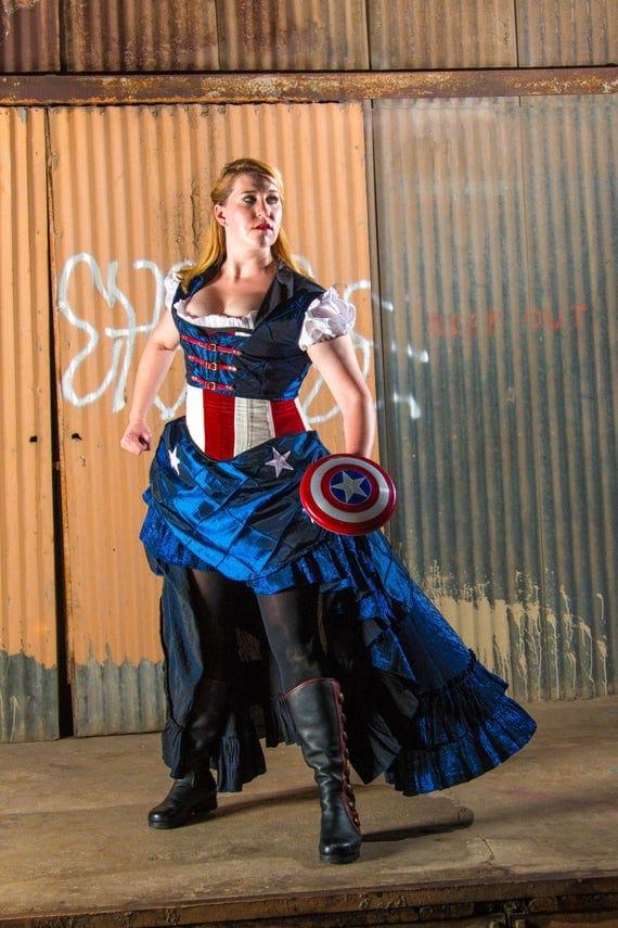 Captain America Inspired Fancy Navy Saloon Skirt