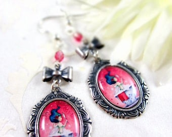Spring cleaning sale Tiny beauty - Illustrated earrings