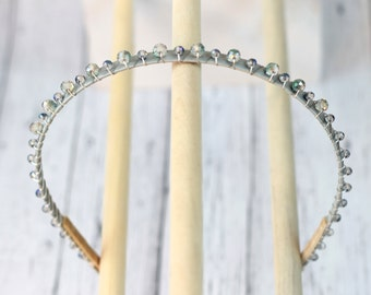 Watery pale blue and smoky grey crystal beaded head band. Silver ribbon beaded crown. 100% Comfortable hair band  hb047