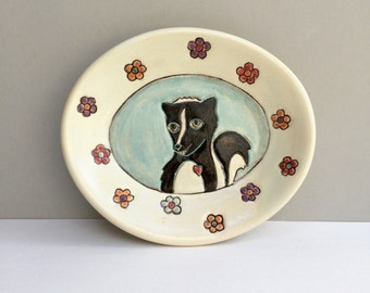 RESERVED FOR CG, Skunk Dish, Small Oval Plate with Skunk and Flowers, Animal Art Pottery Plate