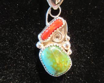 Western Sterling Silver Colorado Manassa Green Turquoise and Red Coral Shell Necklace Pendant