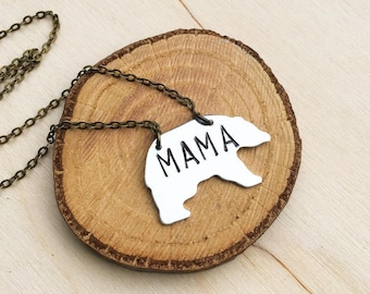 Mama Bear Necklace, Mama Bear Pendant, Gift for Her, New Mom Gift, Personalized Necklace, Mother's Day Gift, Silver Mama Bear Pendant