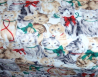 "Christmas Hoilday Kitten, Cats Quilting Fabric 100% Cotton 44"" Wide Sold by the 1/2 Yard"
