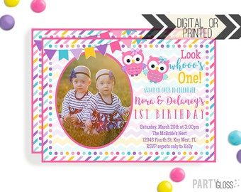 Owl Twins Birthday Invitation | Digital or Printed | Owl Party | Owl Invite | Twin Girl Invitation | Twins Owl Invitation | Owl Themed Party