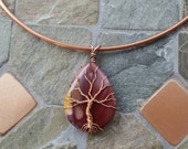 Copper Wire Choker Tree of Life Mookaite Pendant Necklace - Wire Wrapped - Gemstone
