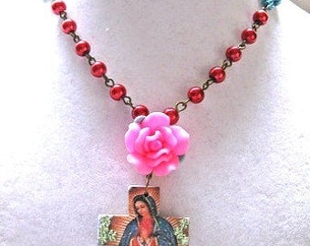 Lady of Guadalupe necklace rose cross pendant virgin mexicana necklace mexico catholic Rosary style collectible